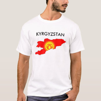 kyrgyzstan country flag map shape silhouette T-Shirt