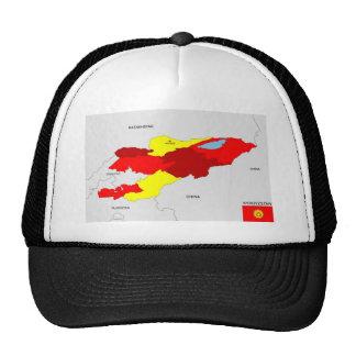 kyrgyzstan country political map flag trucker hats