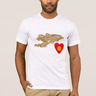 Kyrgyzstan Flag Heart and Map T-Shirt