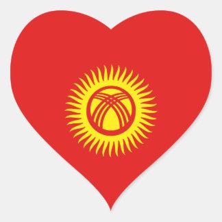 Kyrgyzstan Flag Heart Sticker