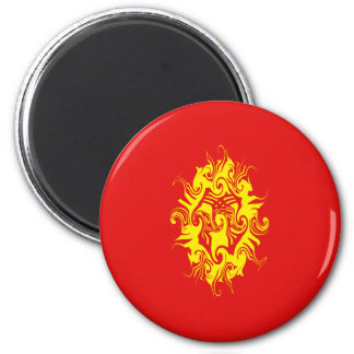 Kyrgyzstan Gnarly Flag 6 Cm Round Magnet