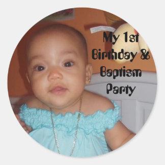 l_3b3b42527d844b990be55e005454520a, My 1st Birt... Round Sticker