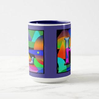 L and K monogram coffee mug in prizmatic alphabet
