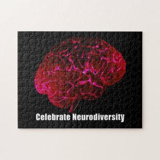 l  Celebrate Neurodiversity Red Brain Puzzle