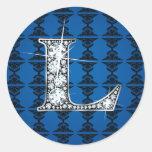 """""""L"""" Diamond Bling on Damask Sticker"""