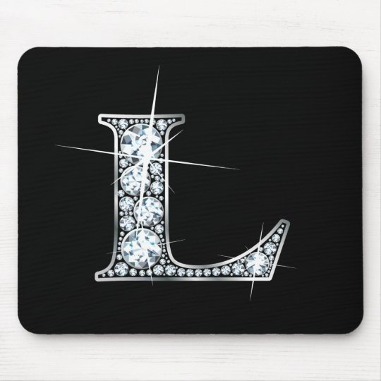 "L ""Diamond Bling"" Print Mousepad"