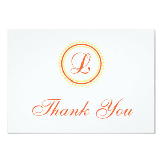 L Dot Circle Monogam Thank You (Orange / Yellow) 9 Cm X 13 Cm Invitation Card
