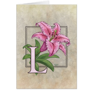 L for Lily Flower Monogram Greeting Card