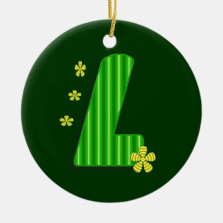 l green monogram christmas ornament