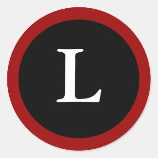 L : Initial L Letter L Red, White & Black Sticker