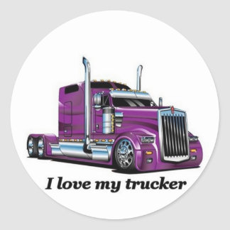 l iove my trucker classic round sticker