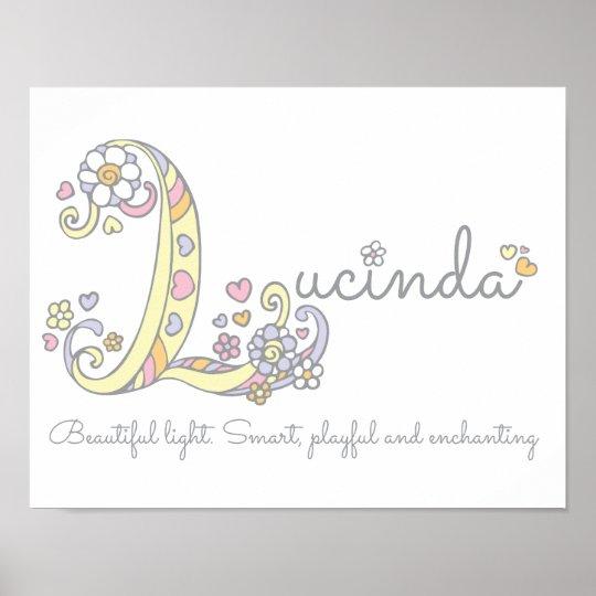 L monogram art Lucinda girls name meaning poster