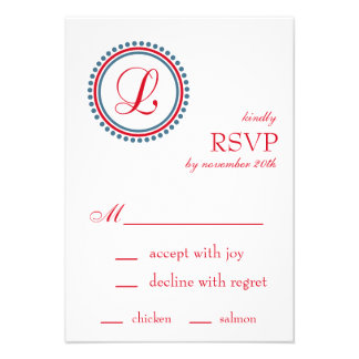 L Monogram Dot Circle RSVP Cards Red Blue