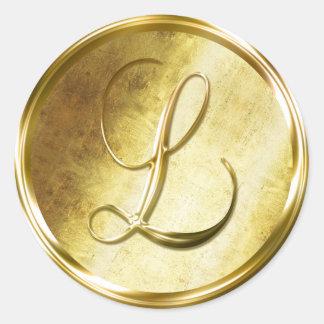 L Monogram Faux Gold Envelope Seal Stickers