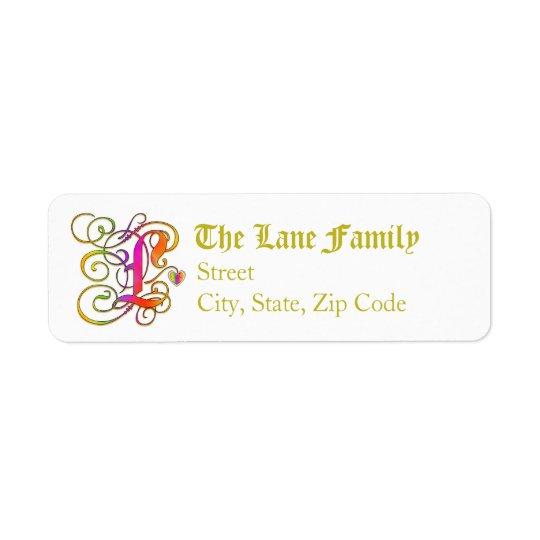 "L Monogram ""Gothic Sunshine"" design Address Labels"