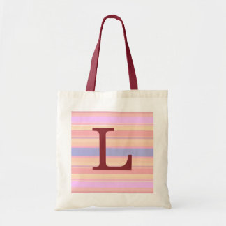 L :: Monogram L Summer Stripes Fun Tote Bag