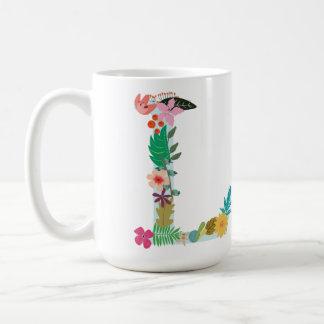 L Monogram Mug, Floral L Initial, Botanical Basic White Mug
