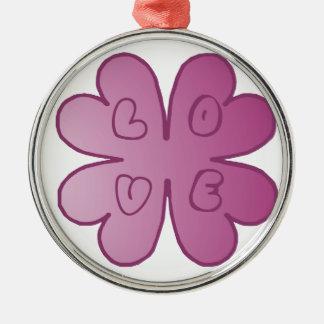L-O-V-E Flower Violet Christmas Ornament