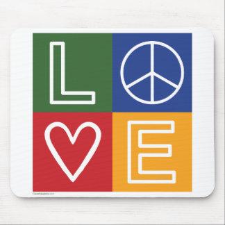 L-O-V-E - Heart and Peace Sign Mouse Pad