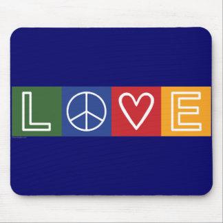 L-O-V-E - Heart and Peace Sign Mousepads