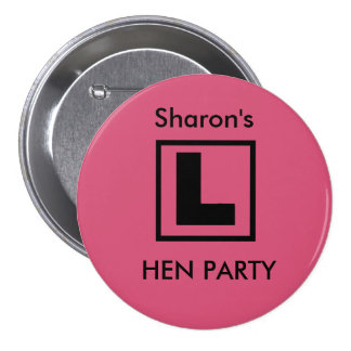 """L Plate"" Hen night badge (black on pink)"