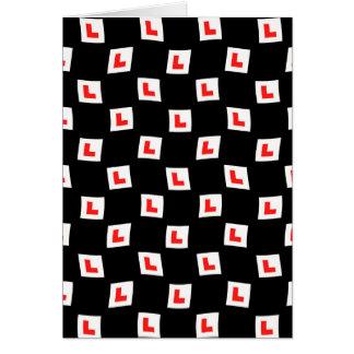L-plate learner driver wallpaper black background greeting card