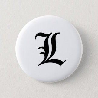 L-text Old English 6 Cm Round Badge