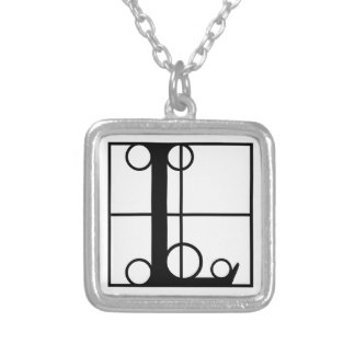 L- Typography Initial Silver Plated Necklace