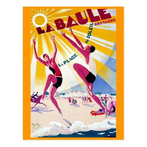 """""""La Baule"""" Vintage French Travel Poster Post Card"""