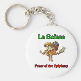 La Befana (Christmas Witch) Feast of the Epiphany. Basic Round Button Key Ring