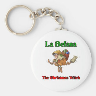 La Befana The Christmas Witch.. Basic Round Button Key Ring
