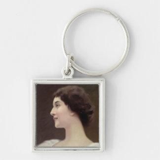 La Belle Otero Silver-Colored Square Key Ring