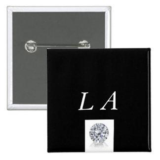 LA Black and white Button 2 Inch Square Button