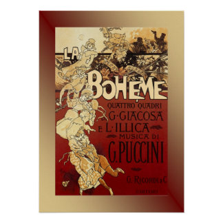 La Boheme ~ Puccini Opera 1896 Poster w/Background