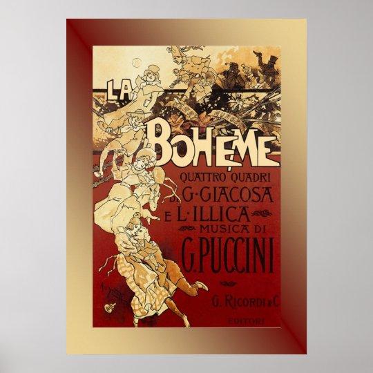 La Boheme ~ Puccini Opera 1896 Poster w/Background