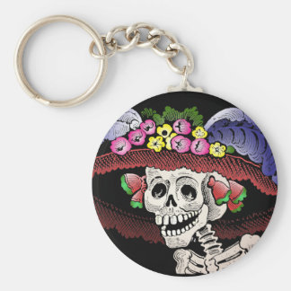 La Calavera Catrina in color Basic Round Button Key Ring