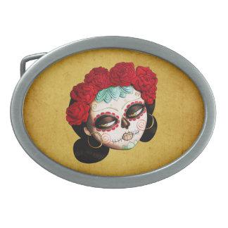 La Catrina - Dia de Los Muertos Girl Oval Belt Buckles