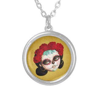 La Catrina - Dia de Los Muertos Girl Silver Plated Necklace