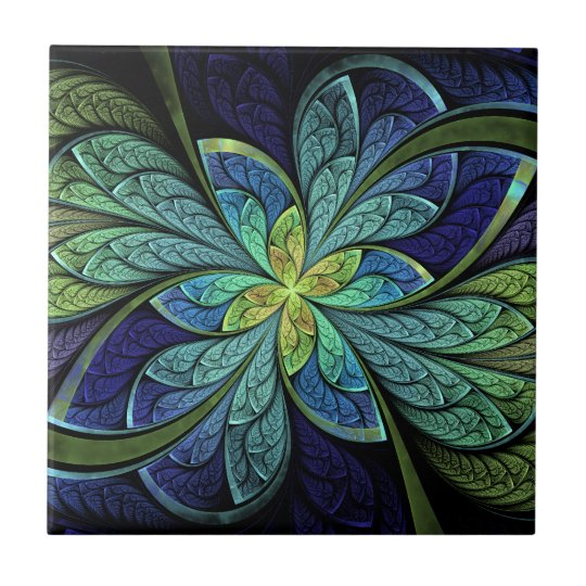 La Chanteuse IV Abstract Stained Glass Pattern Tile