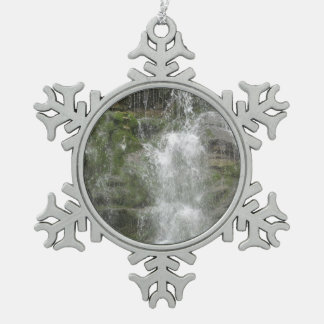 La Chute Waterfall in Forillon National Park Pewter Snowflake Decoration