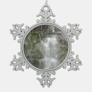 La Chute Waterfall in Forillon National Park Snowflake Pewter Christmas Ornament
