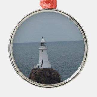 La Corbiere Lighthouse Silver-Colored Round Decoration