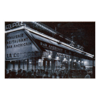 La Coupole, Paris at Night Vintage Print