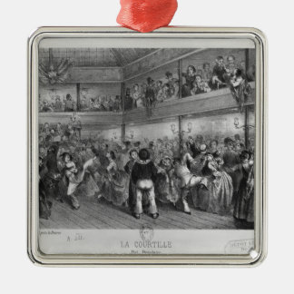 La Courtille, popular dance, engraved by Yves Silver-Colored Square Decoration
