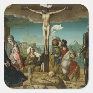 La crucifixión by Juan de Flandes Square Sticker