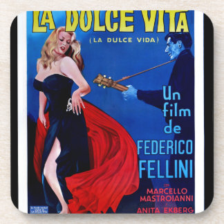 La Dolce Vita Italian Vintage Art Movie Poster Coaster