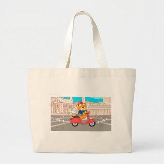 La Dolce Vita Romana - Nano Bear & Junior Monkey Large Tote Bag