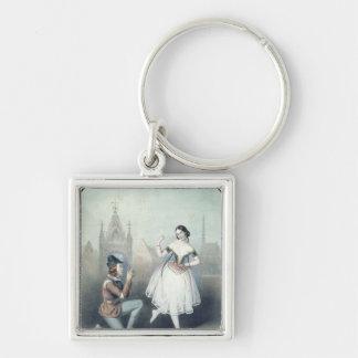 La Esmeralda': Carlotta Grisi  & Jules Perrot Silver-Colored Square Key Ring