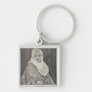 La Favorita'- Woman with a Veil Silver-Colored Square Key Ring