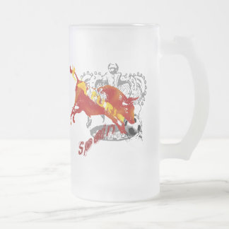 La Furia España Toro Artwork gifts and tees Frosted Glass Mug
